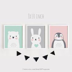 Druckbare Kindergarten Kunst Set von 3 Poster von ARTsopoomc