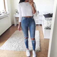 Lovely Look. 43 Lovely Casual Style Looks To Look Cool And Fashionable – Latest Fall Outfits Collection. Lovely Look. Cute Spring Outfits, Trendy Outfits, Winter Outfits, Diy Outfits, Casual Outfits For Teens, Outfits 2016, Basic Outfits, Casual Party Outfits, Spring School Outfits