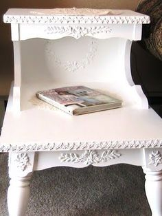 AFTER....Project made using All Purpose Joint Compound, also called: Drywall Mud, Drywall Filler in Canada, Joint Filler in the UK, Fugenmasse in Germany, Joint Finish in Australia to make furniture appliques.Katty's Cosy Cove: Making furniture appliques
