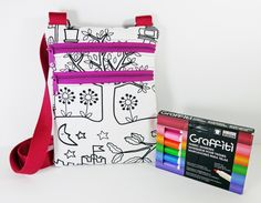 Color Me Bag - Coloring Bag - Little Bag - Small Messenger Bag - Small Bag - Cross body Purse - Cross Body Bag - Mini Crossbody Purse - pinned by pin4etsy.com