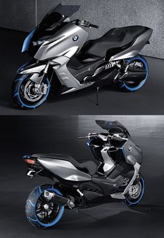 BMW Scooter I want badly - Motorcycle Bmw Scooter, Retro Scooter, Scooter Custom, Custom Bikes, Concept Motorcycles, Yamaha Motorcycles, Cars And Motorcycles, Tmax Yamaha, Scooter Design