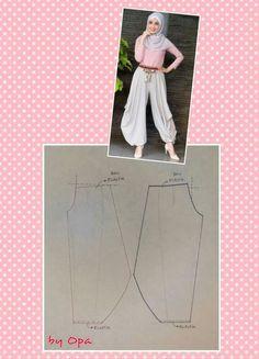 Pant pattern Pallazo Pants Pattern, Harem Pants Pattern, Pola Rok, Sewing Pants, Sewing Clothes, Diy Clothes, Blouse Patterns, Clothing Patterns, Sewing Patterns