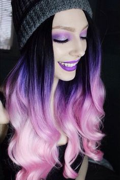 Cool color!  Beauty: Fantasy Unicorn Purple Violet Red Cherry Pink yellow Bright Hair Colour Color Coloured Colored Fire Style curls haircut lilac lavender short long mermaid blue green teal orange hippy boho ombré woman lady pretty selfie style fade makeup grey white silver trend trending  Pulp Riot