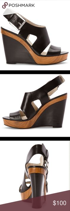 Michael Kors- Carla Platform Contrasting a glossy leather upper with a block platform and stacked wedge, platform 1 in, wedge 4.25 in. NIB never worn MICHAEL Michael Kors Shoes Platforms