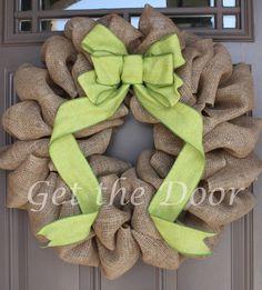 Burlap Wreath Spring Wreath St Patrick's Wreath by getthedoor