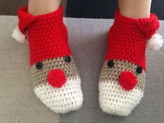 funny crochet slippers or Santa Claus crochet shoes or Xmas gift for everyone, warm crochet boots for good mood and good rest by steficrochetideas on Etsy
