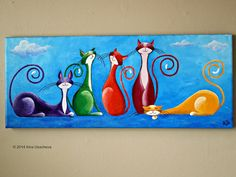 """Original Cat Painting for Sale : Fantasy Cats """"Five Jolly Cats"""" Cat Drawing, Painting & Drawing, Watercolor Paintings, Wal Art, Art Carte, Simple Acrylic Paintings, Acrylic Art, Animal Sketches, Christmas Cats"""
