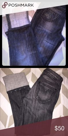 Guess Capris with Rhinestones Dark Guess Capri jeans in size 2. Great condition! Has lots of rhinestones! Guess Jeans Ankle & Cropped