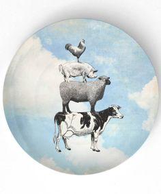 Animal farm in blue skies - vintage artwork on 10 inch Melamine Plate. $18.00, via Etsy.