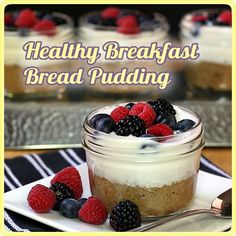 Super cool breakfast bread pudding. You bake a muffin in a mini mason jar. Then top it with yogurt and let it sit in your fridge. In the morning, you have a quick and yummy breakfast :)