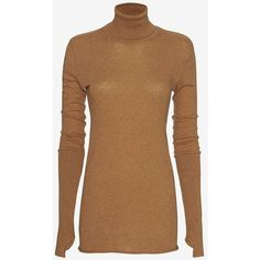 Enza Costa Cotton/Cashmere Thumbhole Turtleneck: Tan ($198) ❤ liked on Polyvore featuring tops, sweaters, cotton turtleneck sweater, long turtleneck sweater, cotton turtleneck, long cashmere sweater and long sweaters