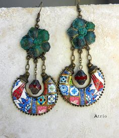 Portugal Antique Azulejo Tile Chandelier Earrings PERSIAN by Atrio
