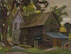 A.Y. Jackson - Farm House Brockville 10.5 x 13.675 Oil on board Painted Boards, Magazine Art, Art Market, Jackson, Auction, Landscape, History, Farm House, Artwork