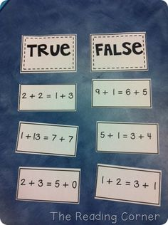 Game: true/false math facts I would use this when teaching about adding multiple numbers. I would have students do this in math centers. I really like how students have to work out all of the problems and then decide if they are true or false.