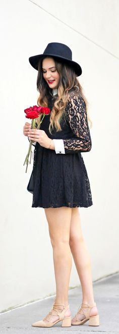 You won't believe the price tag on this dress! | Fashion blogger Mash Elle styles a long sleeve black lace mine dress with a wide rimmed hat, red lip, pink blush lace up shoes and black stud cross body purse.
