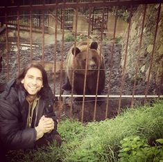 Luke Pasqualino and a bear, Praga Zoo, 2014. From Luke Pasqualino IG