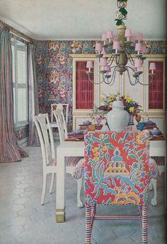 Zajac & Callahan interiors, c. 1970.  Love the fabric.