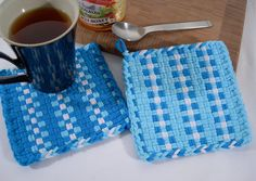 Woven Aqua Potholders Hand Dyed Cotton Loops Kitchen Home Decor Gift, Shabby Chic Turquoise Cyan White Stripe