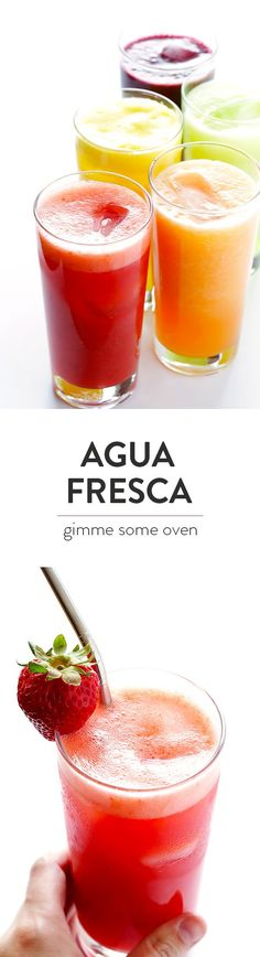 Naturally Sweetened Agua Fresca -- all you need is some fresh fruit, lime juice, water and a hint of sweetener to make these delicious and refreshing drinks! And bonus, they're ready to go in just a minute or two. | gimmesomeoven.com