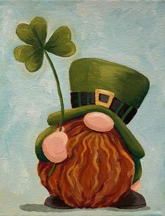 Tole Painting, Painting & Drawing, Diy Painting, Gnome Paint, St Patrick's Day Decorations, St Patrick's Day Crafts, Christmas Gnome, Chalkboard Art, Troll