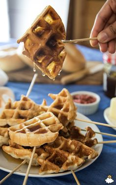 Our Chicken and Waffle Pops Recipe will soon become a fave. Chicken and waffles go hand-in-hand, so why not combine the tasty foods? Our Chicken and Waffle Pops do just that- the chicken is cooked inside the waffle! You've got to try this one!