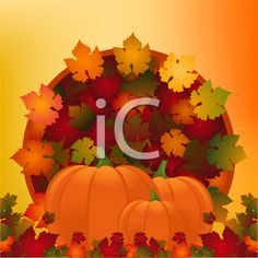 Royalty Free Clipart Image of Autumn Leaves in a Circle Pattern With Pumpkins