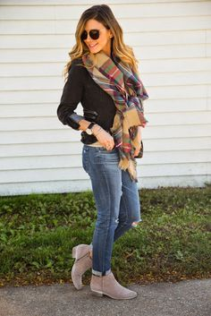 Sam edelman bootie and a blanket scarf! Gorgeous!