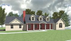 MBR Suite Addition to right side of basic cape with other roofline and porch modifications. Drawing Board, Cape, Porch, Mansions, House Styles, Projects, Home Decor, Balcony, Log Projects