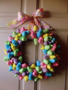 Peep wreath. #Easter #Craft