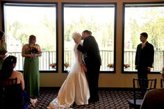 A gorgeous rain plan alternative: indoor ceremony in The Great Hall against views of the Willamette River