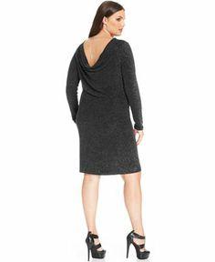 MICHAEL Michael Kors Plus Size Long-Sleeve Metallic Drape-Back Dress - Plus Size Dresses - Plus Sizes - Macy's