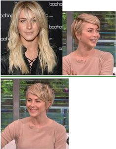 julianne hough new pixie, before and after, haircut, long to short