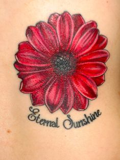 flower tattoo red daisy More - # Pretty Tattoos, Love Tattoos, Unique Tattoos, Body Art Tattoos, Small Tattoos, Tattoos For Guys, Tatoos, Sunflower Tattoo Simple, Sunflower Tattoo Shoulder
