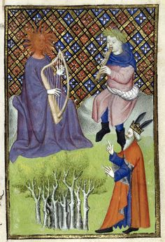 """""""King Midas assigns Pan victory of the musical contest against Apollo"""", miniature taken from the code 'The épître Othéa' British Library, London. (Apollo will take revenge by growing at Midas donkey ears). Renaissance Music, Medieval Music, Medieval Art, Medieval Manuscript, Illuminated Manuscript, King Midas, Romanesque Art, Book Of Hours, Historical Art"""
