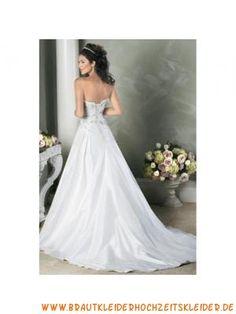 Romantisches festliches Brautkleid aus Satin Herz-Ausschnitt Bodenlang A-Linie Trägerlos