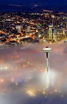 Seattle, Washington I Rotating Restaurant on the Top level of the Space Needle I Fog I USA I North America I Seattle Washington, Washington State, Dream Vacations, Vacation Spots, Places To Travel, Places To See, Beautiful World, Beautiful Places, Beautiful Pictures