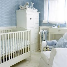 Blue Nursery Baby White Bedroom Boy Rooms