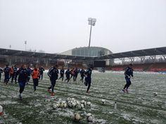 Team training at snowy Helsinki.