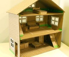 Recycled cardboard is an excellent go-to material for an inexpensive, easy-to-build dollhouse and this one, from Little Red Window is an awesome example of a basic structure you can use. Plus the step-by-step tutorial makes this project a snap.