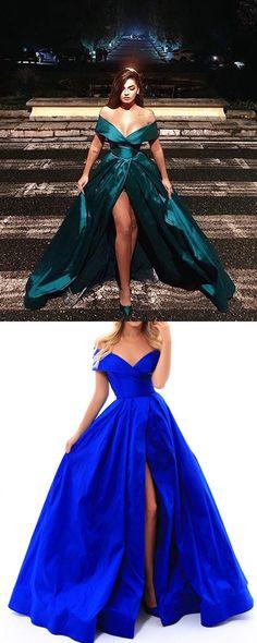 2018 Hunter Green Elastic Satin Prom Dresses Split Long Prom Party Gowns Fashion M2442