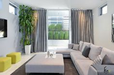 A Fascinating Silky Grey Curtain Style For Contemporary Living Room With Comfy Grey Sofa And Neon Green Stools With Modern Built In Firepit Also Amazing Indoor Plant Pot Sophisticated Gray Curtains for Stylish Design on Your Room Home decoration