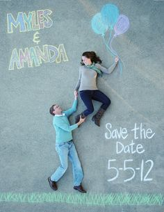 creative save the date photo using chalk