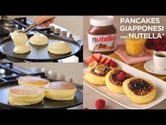 ideas for cheese cake nutella ricetta Japanese Fluffy Pancakes, Japanese Pancake, Cheese Cake Nutella, Nutella Pancakes, Muffins Double Chocolat, Tuna Cakes, Snacks Sains, Pancakes Easy, Cheese Platters