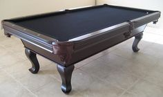 Cherry Wood Slate Pool Table With Black Felt