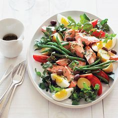 Poached Salmon Niçoise salad