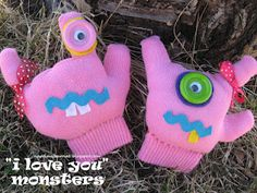 """""""I love you"""" Monsters. Great idea for valentines, and to help them when they're scared of the dark!"""