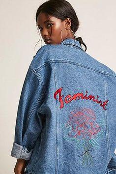 The Style Club Oversized Feminist Denim Jacket