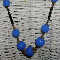 Vintage Art Deco Opanescent Blue Art Glass Necklace by NotSewIdle, $340.00