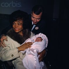 Eartha Kitt with baby daughter and husband William Mcdonald | old school interracial #bwwm #wmbw