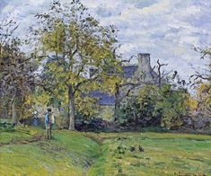 Piette s home on montfoucault by Camille Pissarro Oil painting reproductions - oilpaintingreproductions. Paul Gauguin, Edouard Manet, Pierre Auguste Renoir, Claude Monet, Charles Gleyre, Camille Pissarro Paintings, Pissaro Paintings, French Impressionist Painters, Gustave Courbet